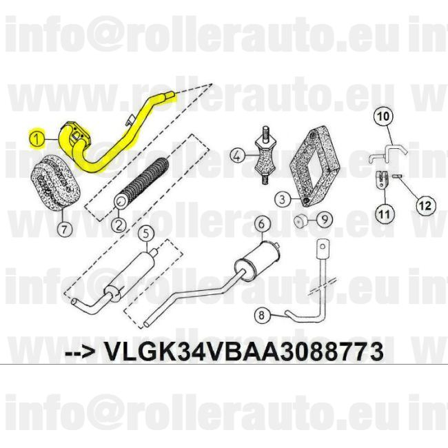 Mopedcar Spare Parts: Heade pipe exhaust Aixam 721, 741