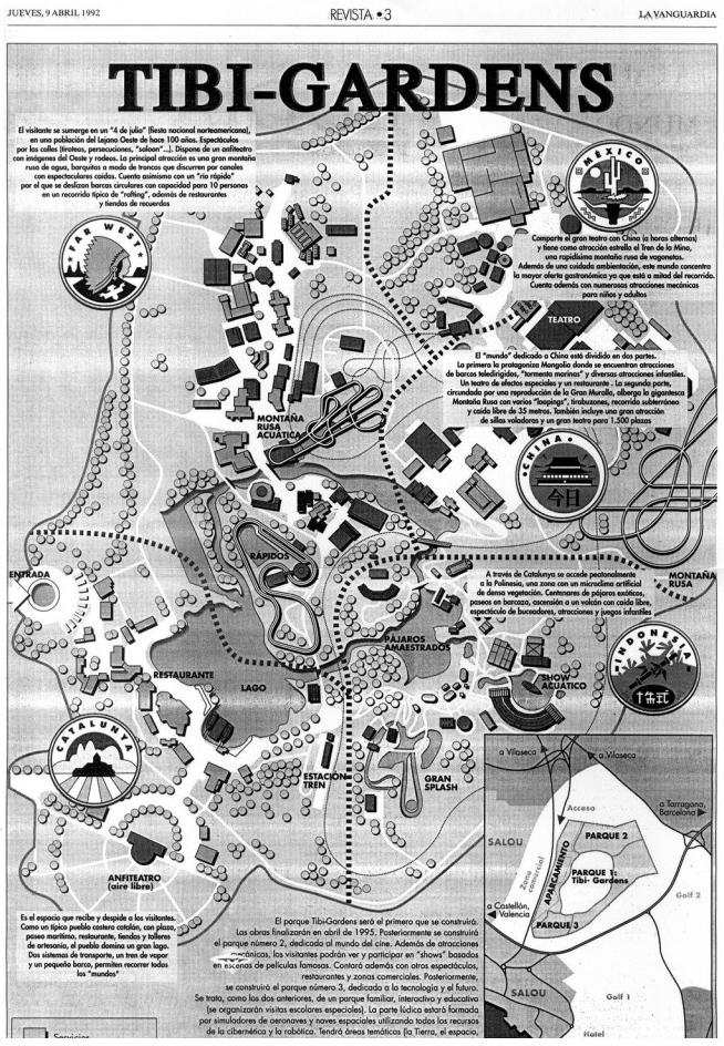 De geschiedenis van PortAventura: de parkmap van Tibi-Gardens