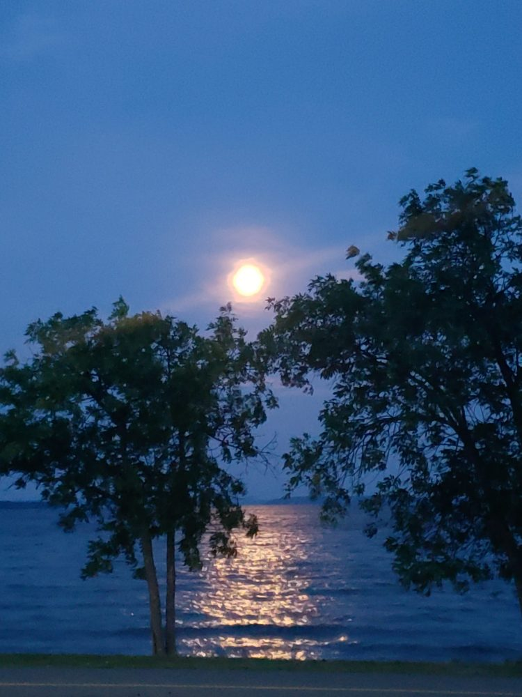 moon over lake Temiskaming