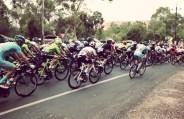 A tight turn for the peloton
