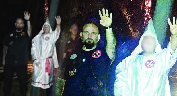 Former Lake Arthur , LA Detective Raymond Mott at a KKK rally. (Photo Source: Facebook)