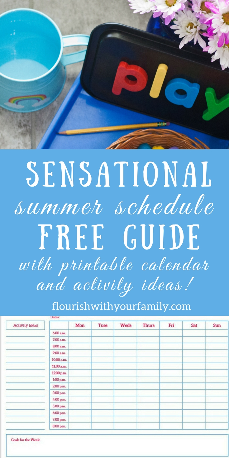 "FREE Guide: How to Create a Sensational Summer Schedule for Your Family Try our step-by-step process to map out your entire week in 10 minutes or less! Includes a weekly printable calendar, ""menu"" of activities to choose from, and a BONUS: 20 Boredom Busters!"