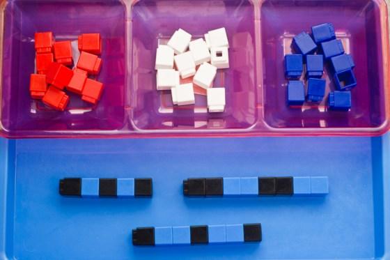 We love Unifix Cubes for math play!   child development, learning through play, preschool math, toddler math, educational toys, preschool toys