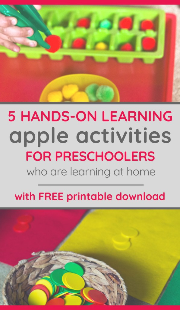 two apple-themed activities for toddlers and preschoolers