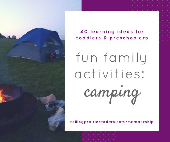 40 Camping Activities for Kids | Whether you are looking for things to do on rainy days or hot days, our camping activities will make learning at home more fun! With 40 early literacy, math, gross motor, and sensory activities, your toddlers and preschoolers will have a blast learning through play!