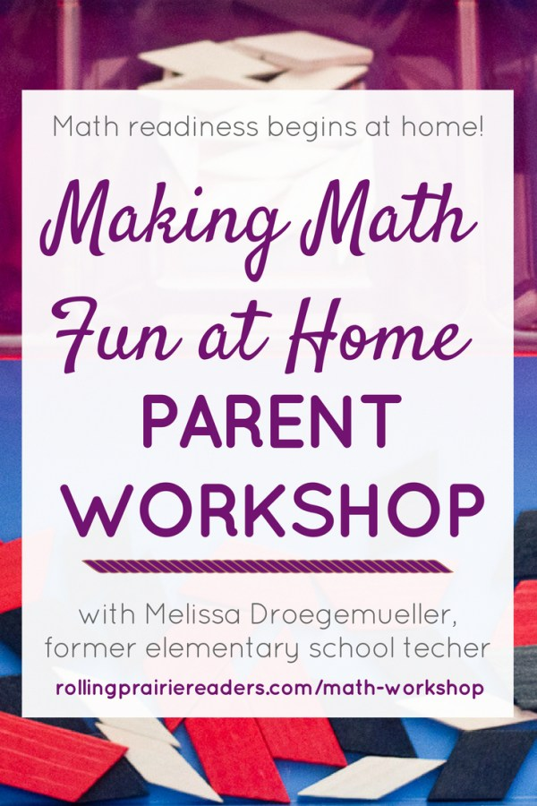 Join Melissa Droegemueller, former classroom teacher, for a casual, interactive parent workshop all about making math FUN for our little ones!