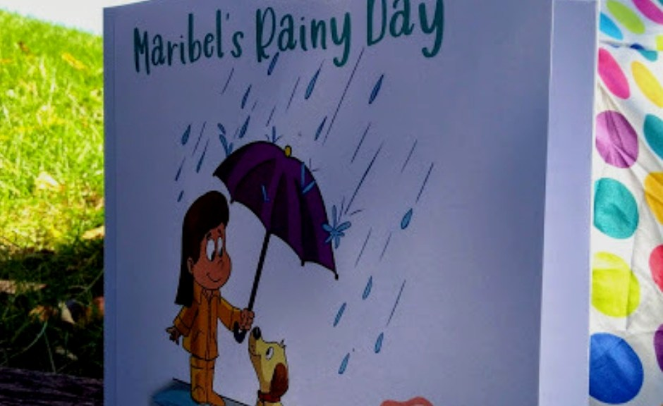 image of a picture book and a polka dot umbrella