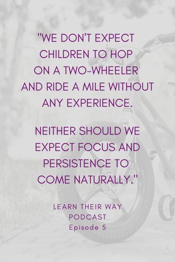 Quote: We don't expect children to hop on a two-wheeler and ride a mile without any experience. Neither should we expect focus and persistence to come naturally.