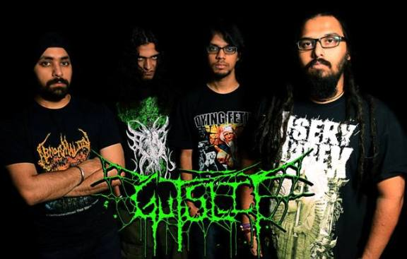 (Second from right) Gutslit with new guitarist Prateek Rajagopal.