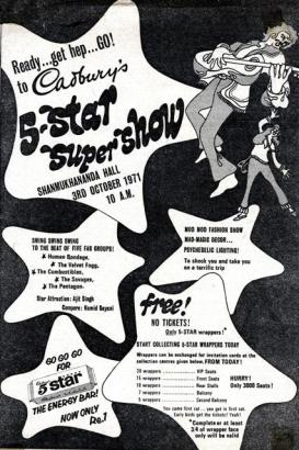 A poster of The Combustibles gig sponsored by Cadbury's