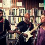 (Center) Thayil with Sandeep Madhavan and Katie Mackay of the Burning Deck. Photo: Ravi Menezes