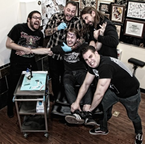 Trevor Strnad, Brian Echsbach, Alan Cassidy (seated), Ryan Knight and Max Lavelle (from left)