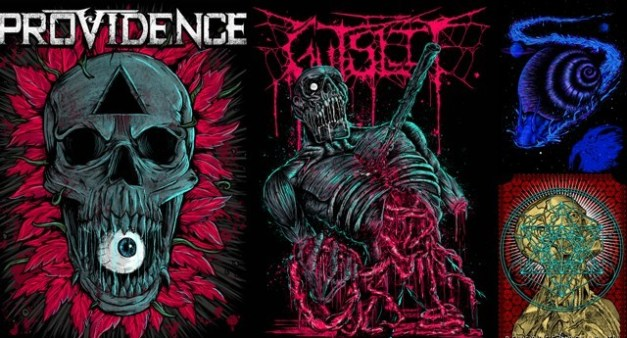 (from left) Pinto's artwork for Providence, T-shirt designs for Gutslit, Pangea and Reverrse Polarity. Illustrations courtesy Aaron Pinto