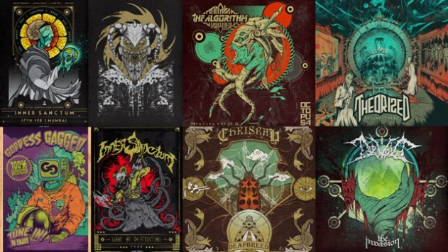 (clockwise from top left) Acid Toad's artwork for Inner Sanctum, Demonic Resurrection, The Algorithm, Theorized, Devoid, Cheisrah and Goddess Gagged. All images courtesy of Gaurav Basu