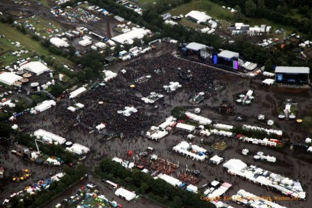 An aeriel shot of the swamp that  Wacken village turned into during the fest. Photo:  ICS Festival Service GmbH.