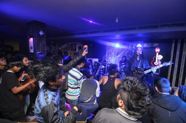 Shillong death metal band Plague Throat at the RSMA pre-gig in Guwahati. Photo: Kesisam Babusana Singh