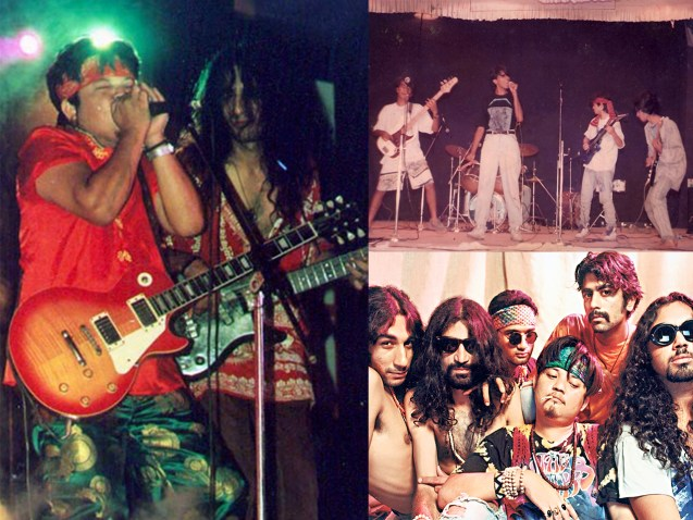 (1) Parikrama playing one of their first gigs at IIT Kanpur, 1991 (2) (From left) Chintan Kalra, Subir Malik, Dilip Ramachandran, Sonam Sherpa, NItin Malik and Vipin Mishra, 1997. (3) Sonam and Chintan at the band's anniversary gig in 2000