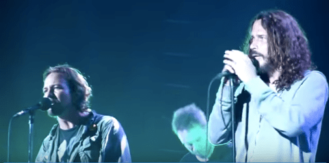 Chris Cornell and Pearl Jam perform Temple of the Dog tracks together during Pearl Jam's tour in September 2011.