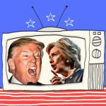 Welcome to 'Survivor: Trump v. Clinton.' How Election 2016 officially turned politics into reality TV – and how we got here in the first place. Illustration: Mark Peterson/Redux (2)