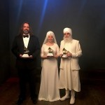 White Sun's Adam Berry, Gurujas and Harijiwan with their Grammy for the Best New Age Album earlier this year. Photo: Courtesy of the artist