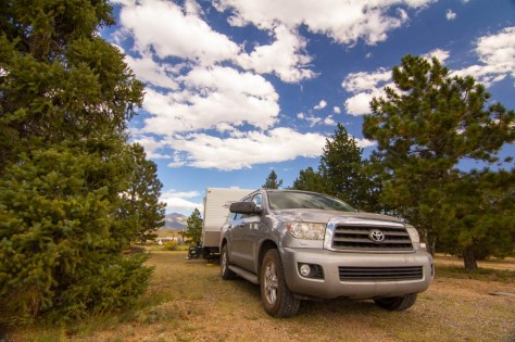 Rolling With Grass Truck and trailer at san luis valley campground colorado