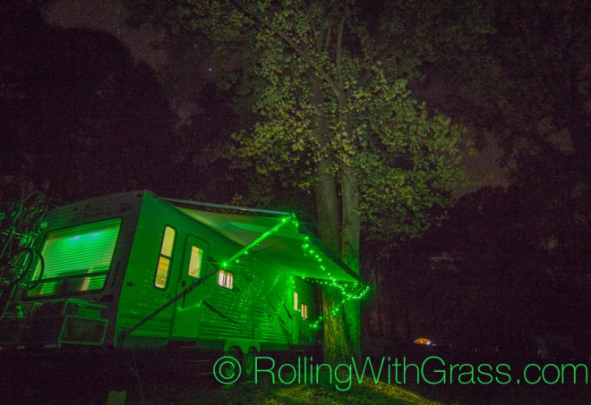Nighttime RV campsite at Peaks of Otter Rolling with Grass VA 10-2014
