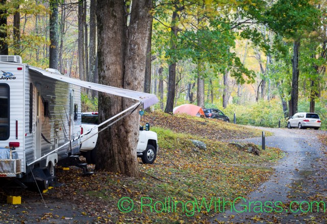 View down rv campground parkway at Peaks of Otter Rolling with Grass VA 10-2014