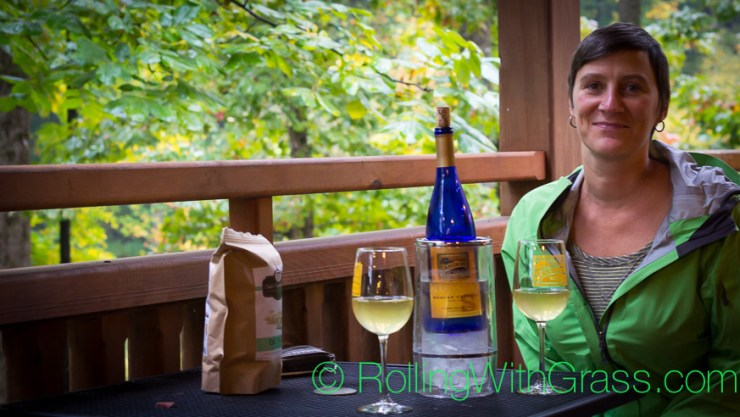 Kate of Rolling with Grass Enjoys wine in the rain at Sanders Ridge Vineyards