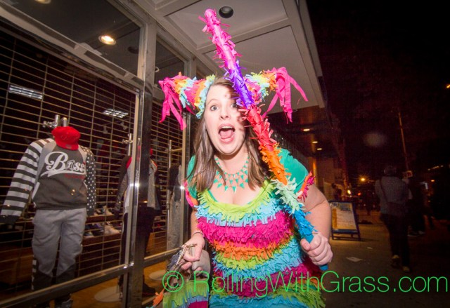 The Pinata Woman on U Street Halloween Grass DC 2014