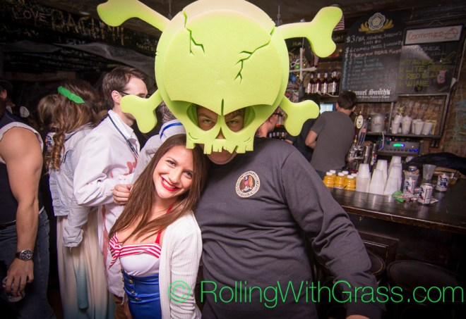 Sexy sailor and our man Chad the Nerf Predator at scary 90's bar on U Street Halloween with Grass DC 2014