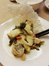 Sliced Wok Seared Canadian Cod Fish with Preserved Vegetable and Wolfberry