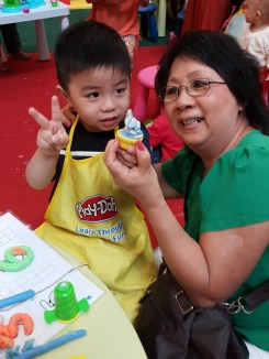 Wyn's 1st cupcake with Play-Doh