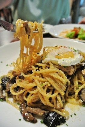 Up close - Mushroom Aglio Olio
