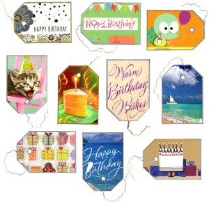Handmade Happy Birthday gift tag from recycle greeting card