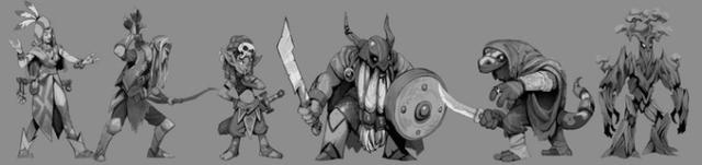 Algunos de los personajes disponibles en Tiny Dungeon
