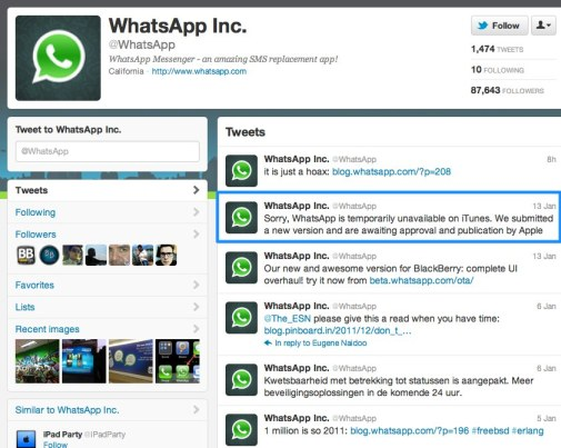 WhatsApp Inc. (whatsapp) on Twitter