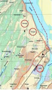 På Valle er det dokumentert en rekke oldsaksfunn. På et flyfoto fra 1954 er funnstedene avmerket med sirkler. Bildet avslører at det på denne tid fortsatt foregikk tømmerfløting på Glomma. Ringmerkene på karttegningen viser at skipsgravene på Rostad/Haugen ved Visterflo og båtgraven på Valle lå geografisk svært nær hverandre.