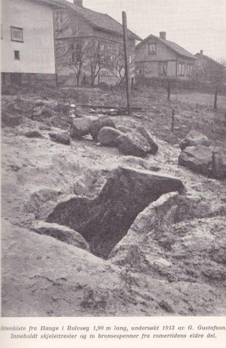 """Bilde 17: 24. april 1913 kunne Fredriksstad Blad bringe nyheten om at det var gjort et oldtidsfunn på Hauge Rolvsøy. Funnet besto av en gravkiste, 1,0 m lang, 0,5-0,65 m bred og 0,9-1 m dyp. Selve kisten var bygget opp av stenheller. På toppen lå noen store kampestener. På universitetets tilvekstliste fra 1904-1915 fremgår det at funnet skriver seg fra romersk tid, den tidlige jernalder, dvs. 17-til 1800 år gammelt. Graven tilhører således samme epoke som gravhaugene på Rå-fjellet og Rådalsglasset. I samlingene finnes to fibulaer i bronse og rester etter mennesketender. Gravrestene indikerer at det har ligget en kvinne i graven. Den flotte graven understøtter Erling Johansens antakelse om at Hauge-bonden har """"sittet godt i det"""" Fredriksstad Blad skriver den 24. april 1913 at det for mange år siden under gravearbeid ble funnet en øks og et sverd på den andre siden av veien. """"Sverdet fik nu avdøde Disponent Kreutz paa Torp. Hvor Øksen er blit av, fik vi ikke rede paa"""". Eiendommen """"Sønstevold"""" (gnr 737, bnr 23) har i dag adresse H. N. Hauges vei 56. Kjøpmann Johannesen som eide gården i 1913, besluttet å vedlikeholde og beplante gravminnet. I kjøpmann Ole Brunsbys tid, på 1930-tallet, var det også blomster på graven. Eiendommen som er fredet, bærer ikke preg av fredningen i dag. Østfold Historielag nedsatte på sitt årsmøte i 1949 en komité som skulle undersøke hva som kunne gjøres for å bevare et gammelt gravkammer på Hauge. Fremstøtet er blitt resultatløst. Foto: fra boken: Arkeologiske landskapsundersøkelser i Norge. I. A W. Brøgger Oslo 1932 Universitetets Oldsaksamling"""