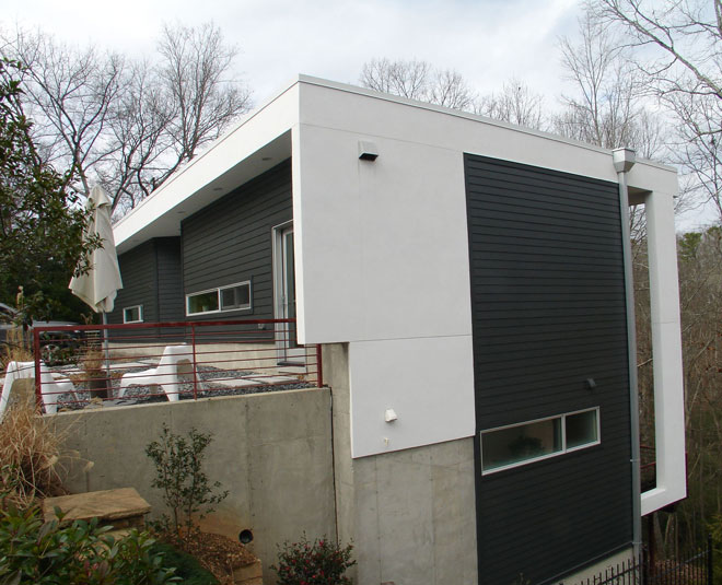 This side view of the Vail residence shows the ROMA stucco that was used around the base of the home.