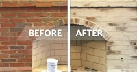 How To Whitewash Your Brick Fireplace with Limewash Paint ...