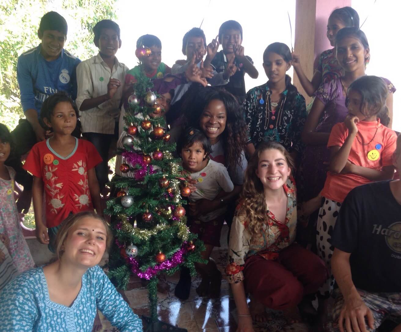 Toska in India for Christmas (center wit Bird Blouse)