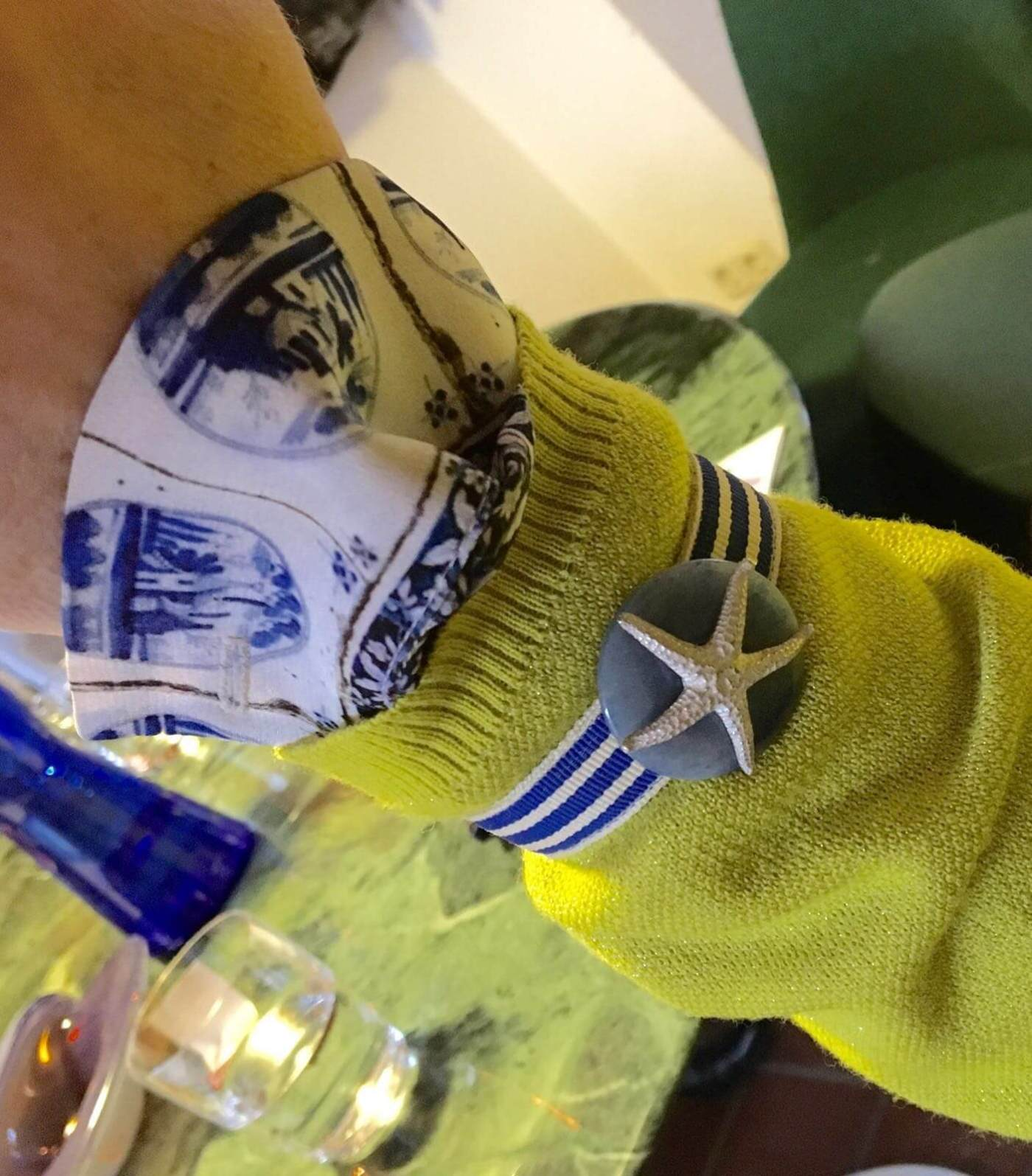Leinen Los und Delft Bluse