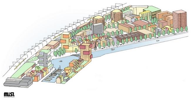 Artist impression bouwlocatie Laakhaven West. Alles mag in dit gebied, als de geluidbelasting aan de gevel van de nieuw te realiseren woningen maar niet meer wordt dan 50 dB(A). Beeld MiSl in opdracht van de Gemeente Den Haag