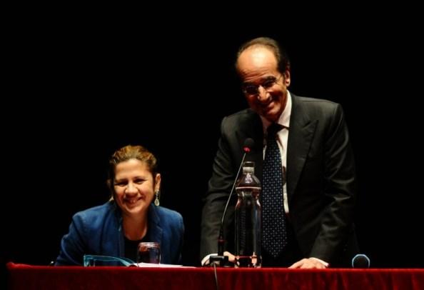 La vicepresidente della Fondazione Monica Fantini e Jean Paul Fitoussi
