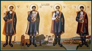Τα Ιερά Λείψανα των Αγίων τεσσάρων νεομαρτύρων Αγγελή, Μανουήλ, Γεωργίου και Νικολάου  των εκ Μελάμπων Ρεθύμνης στον Ι.Ν. Αγίου Γεωργίου Νικαίας