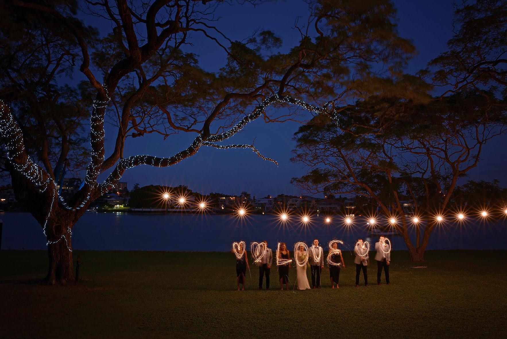 sparkler wedding night wedding photos