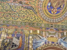 Tiled mosaic on the ceiling.