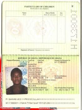Priscilla - Zahra Yankson - Ghana Passport # H1540100