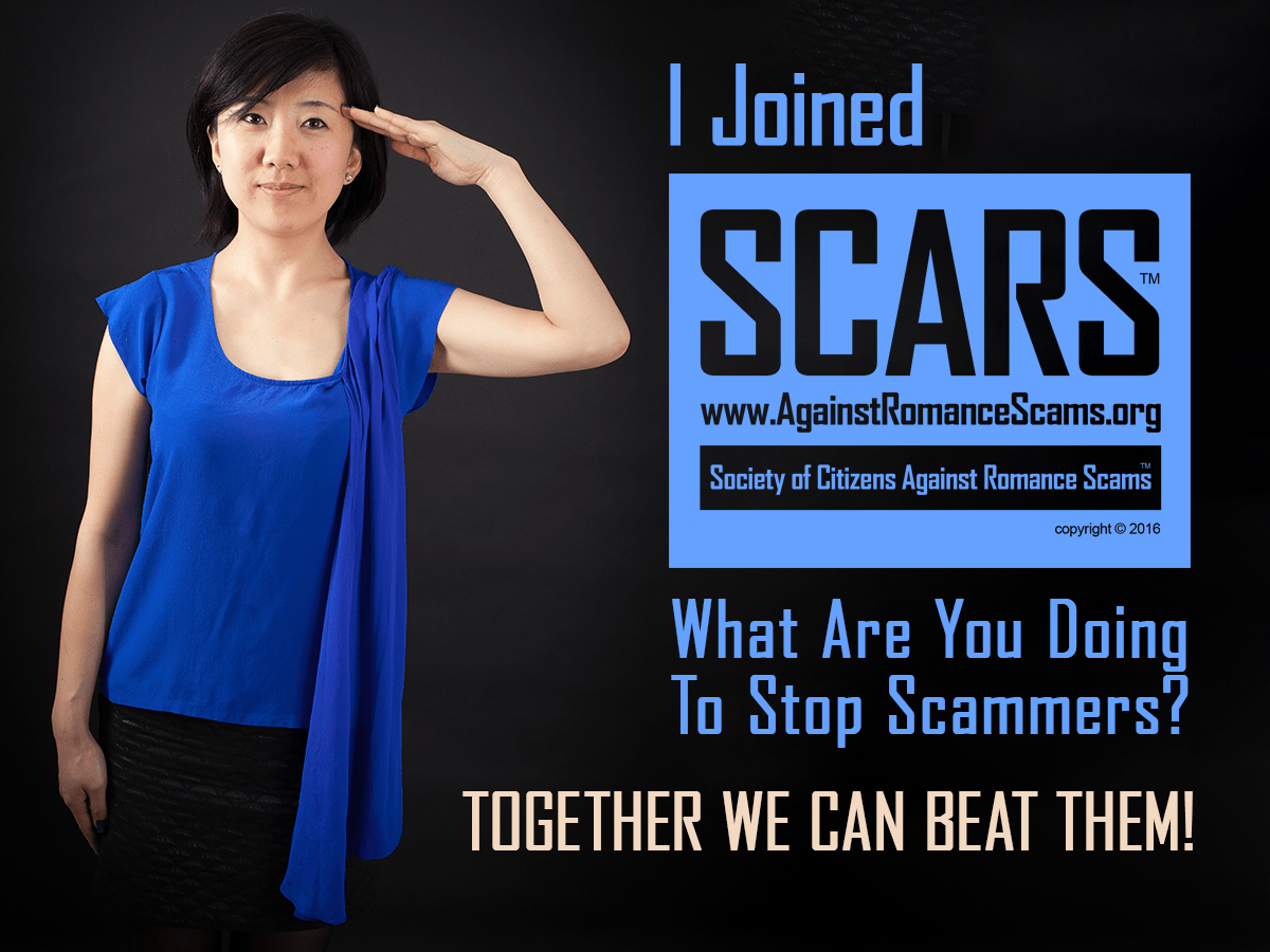 Join SCARS Today! It's Free & Easy To Apply. Just Go To www.AgainstRomanceScams.org Together We Can Beat Them! Come join the thousands of SCARS Members today! If you joined SCARS send us your photo saluting? We will not display your name! Send it to contact@AgainstRomanceScams.org #Together #BeatScammers