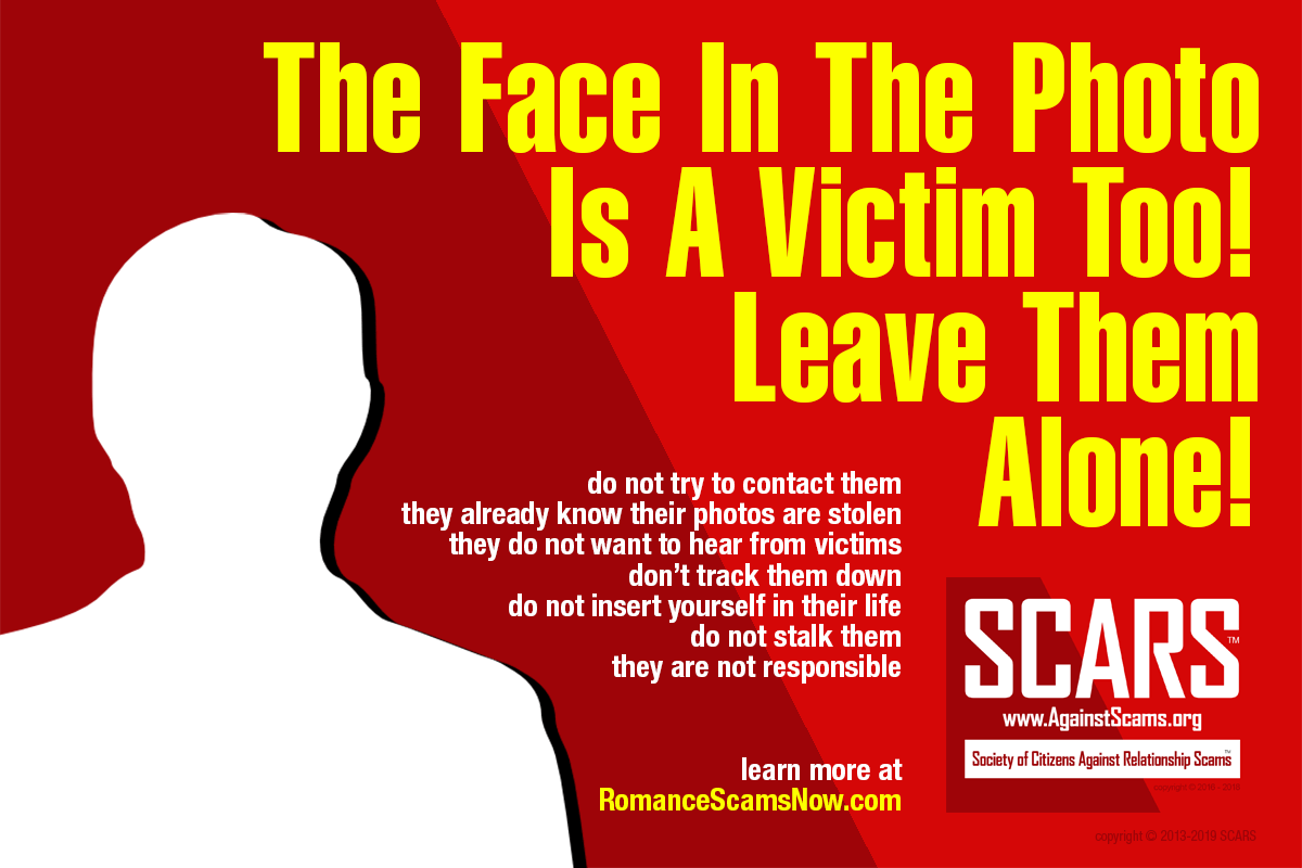 The face in the photo is a victim too - please leave them alone!